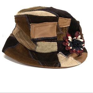 Kokin Patchwork Leather and Corduroy Packable Hat